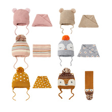 2019 new kid keep warm hat baby hat scarf suit autumn winter warm hat boys and girls knitted hat cute baby earmuffs children hat