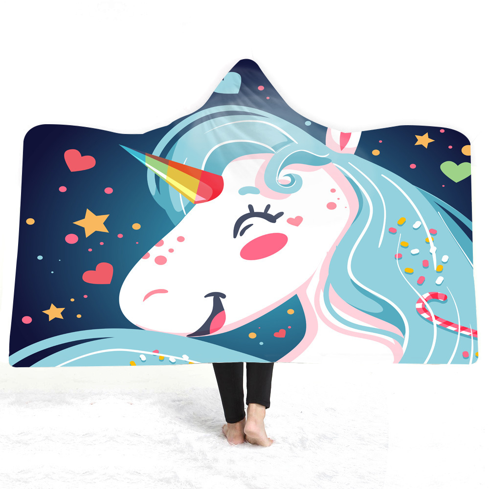 Unicorn Hooded Blanket For Home Travel Picnic Cartoon 3D Printed Plush Blanket Wearable Fleece Throw Blanket For Adults Childs in Blankets from Home Garden