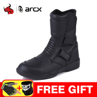 ARCX Motorcycle Boots Men Waterproof Botas Moto Genuine Cow Leather Moto Boots Motocross Boots Motorcycle Racing Mid Calf Shoes