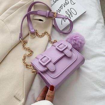 Hairball Design Mini PU Leather Crossbody Bags For Women 2020 Summer Chain Shoulder Handbags Female Travel Totes Cross Body Bag