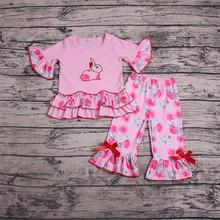цена на 2019 Girls Boutique Clothing Children Newborn Baby Girl Sets Clothes Rabbit T-shirt Top+Pants Leggings Outfits Set