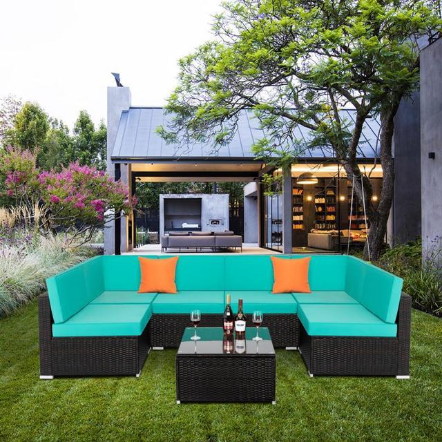 7 IN 1 Garden Rattan Sofa Furniture Set  1