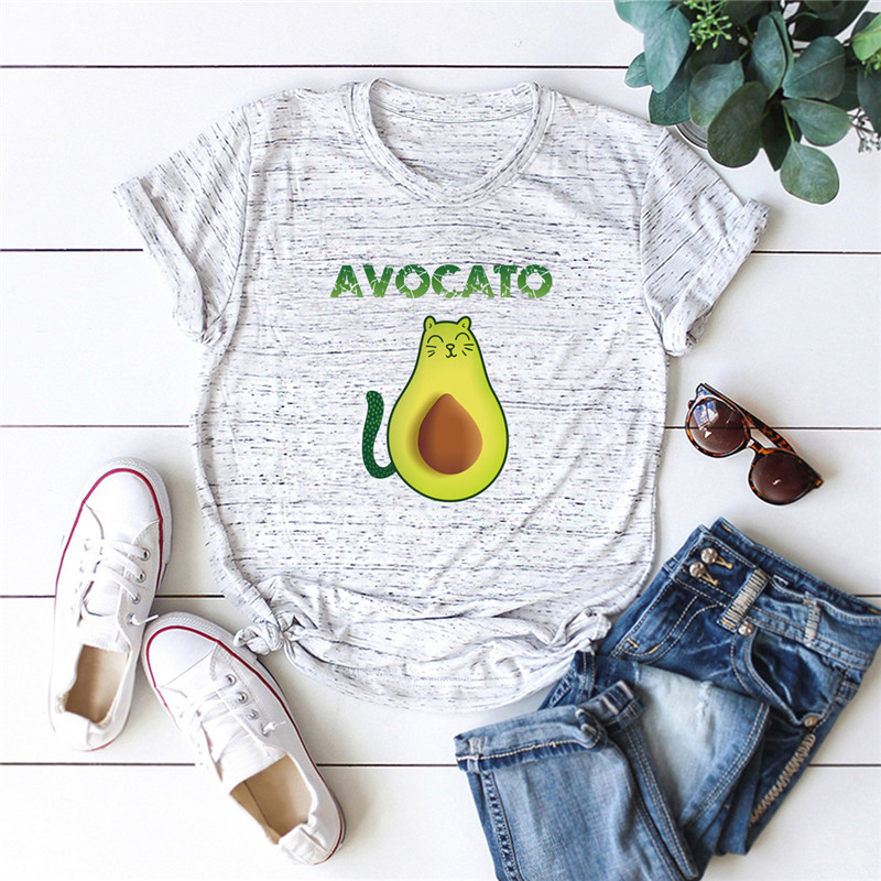 Plus Size S-5XL Cat Avocado Print T Shirt Women Shirts 100%Cotton O Neck Short Sleeve Tees Summer T-Shirt Pink Top TShirt Women