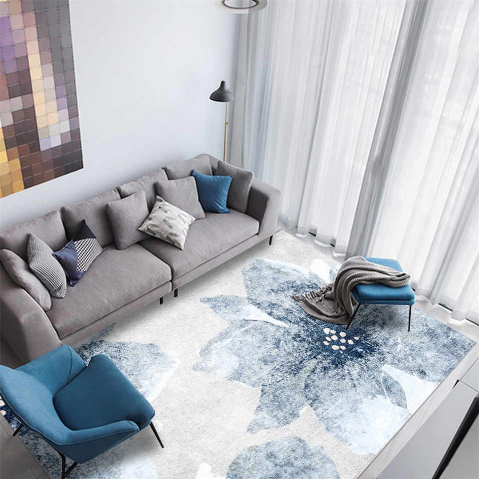 nouveau style chinois bleu jasmin floral gris blanc tapis salon moderne abstrait couleur decoloration fleur tapis tapis pour chambre