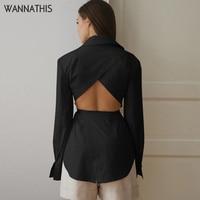 WannaThis informal-Blusa de manga larga para otoño, camisa con cordones calada, con cuello vuelto y botón frontal