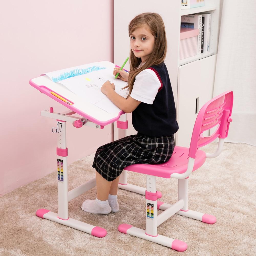 IKayaa Kid's Study Desk Height Adjustable Chair Set Tiltable Children Activity Art Table Set Work Station Metal Frame Desk Chair