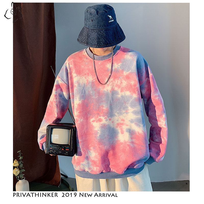 Privathinker Men Woman Tie Dyeing Loose Sweatshirts 2019 Couple New Harajuku Streetwear Clothes Hoodies Male Autumn Sweatshirts