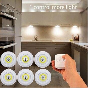 3W Super brillante Cob bajo la luz del Gabinete LED Control remoto inalámbrico regulable Noche de armario lámpara hogar dormitorio armario Cocina