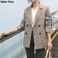 Женский офисный Блейзер sister fara двубортный клетчатый пиджак
