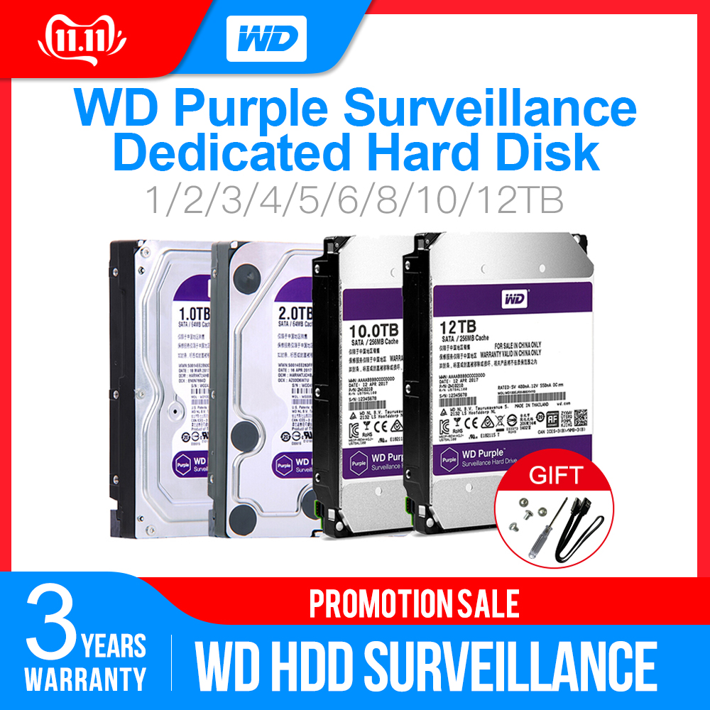 Western Digital WD Purple Surveillance HDD 1TB 2TB 3TB 4TB SATA 6.0Gb/s 3.5