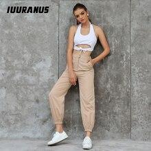 IUURANUS Spring autumn Streetwear Ladies Pants Women Casual Solid cargo High Waist Loose Trousers pantalones mujer