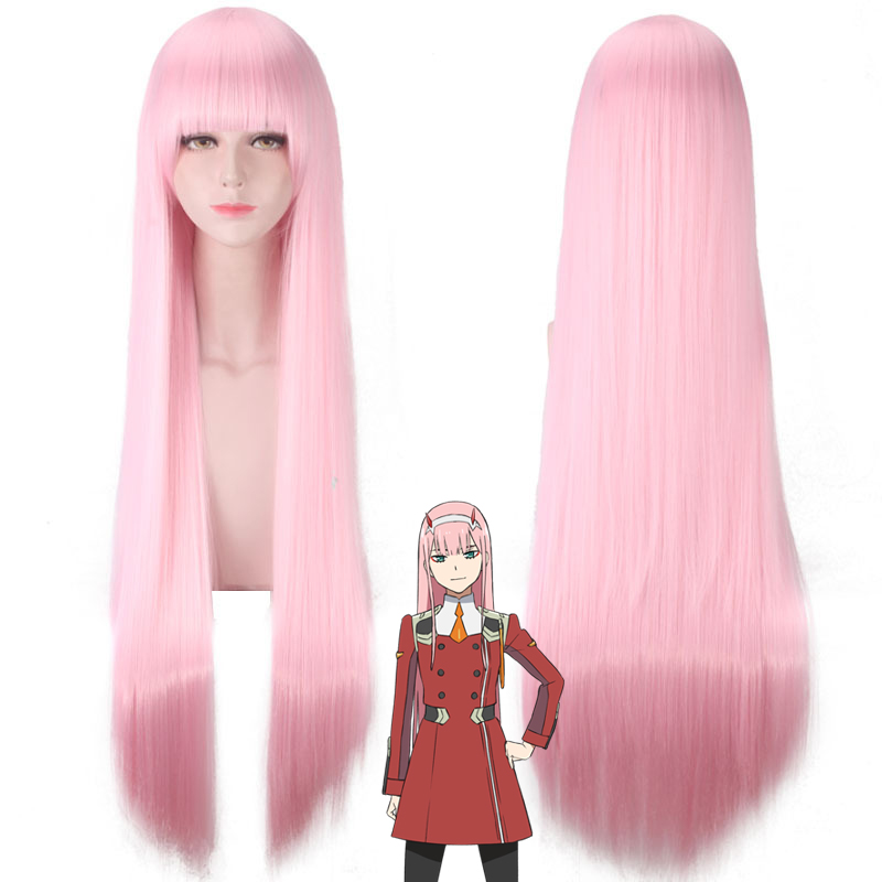 Anime DARLING In The FRANXX Costume Cosplay Wig Pink 100CM Long ZERO TWO Wigs Ladies Halloween Hair D34371AD
