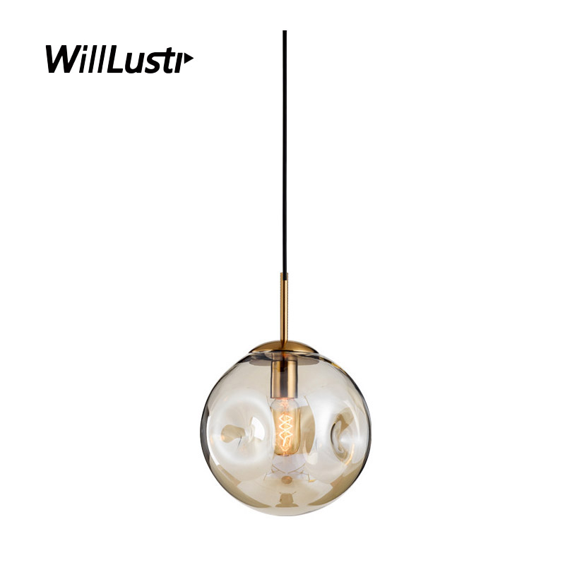 Modern Glass Pendant Light Hotel Restaurant Bar Cafe Bakery Shop Bedroom Smoke Cognac Mouth Blown Concave Glass Suspension Lamp