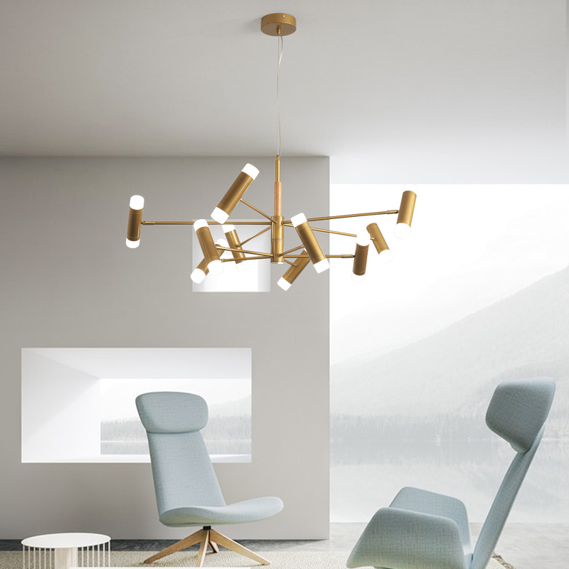 New golden/black <font><b>remote</b></font> dimming chandelier lighting lamp <font><b>holder</b></font> adjustable modern LED ceiling chandelier indoor lamps image