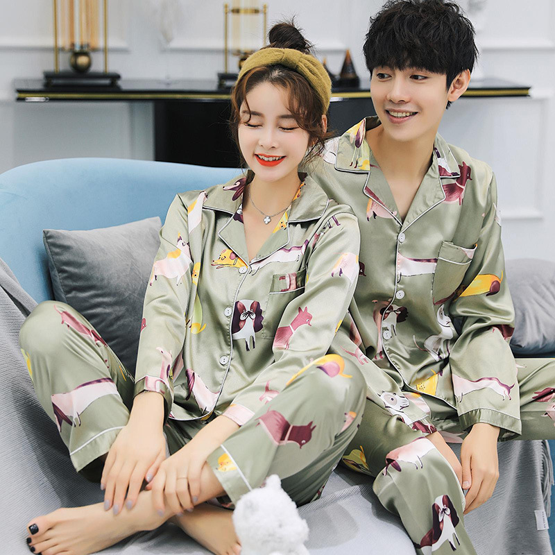 Ice silk pajama women summer short sleeve Korean version of douyin web celebrity with imitation silk lovers home|Pajama Sets| - AliExpress