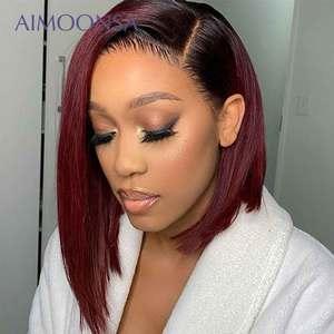 Image 3 - 4x4 תחרת סגירת פאה בורגונדי תחרה מול פאה 130% צבעוני Ombre שיער טבעי פאות שיער אדום ישר 1B/99J לנשים רמי