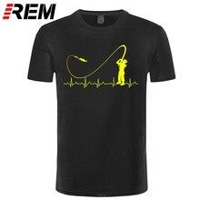 REM Fishinger Heartbeat T Shirt - Funny Fish Fisherman Gift Idea New Fashion Men T-Shirt Fashion Short Sleeve Sale 100 % Cotton