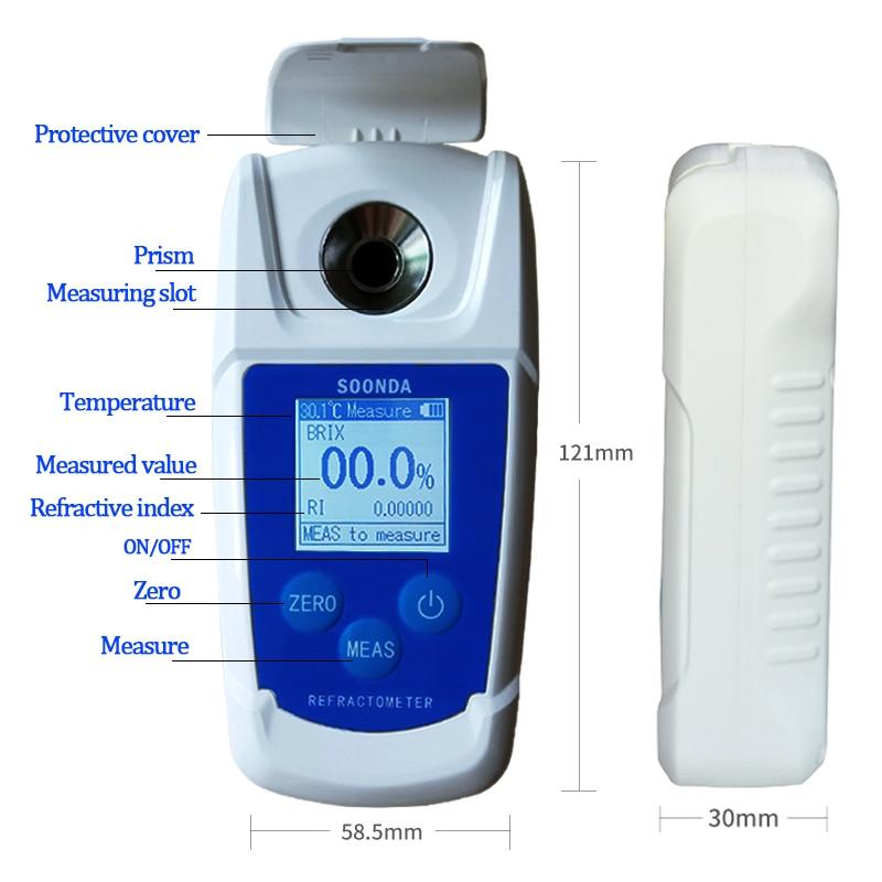 Fruit Hydrometer Wine Grapes Concentration Meter Sugar  Digital Sugar for Medicine Alcohol Beer Honey Auto Refractometer Brix