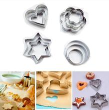 3pcs/set Stainless Steel Cookie Biscuit DIY Mold Star Heart Round Flower Shape Cutter Baking Mould Tools Geometric