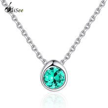 SaiSee Fashion New 3 Colors 925 Sterling Silver Pave CZ Zircon Pendant Necklace Women 45cm Chain Jewelry Gift