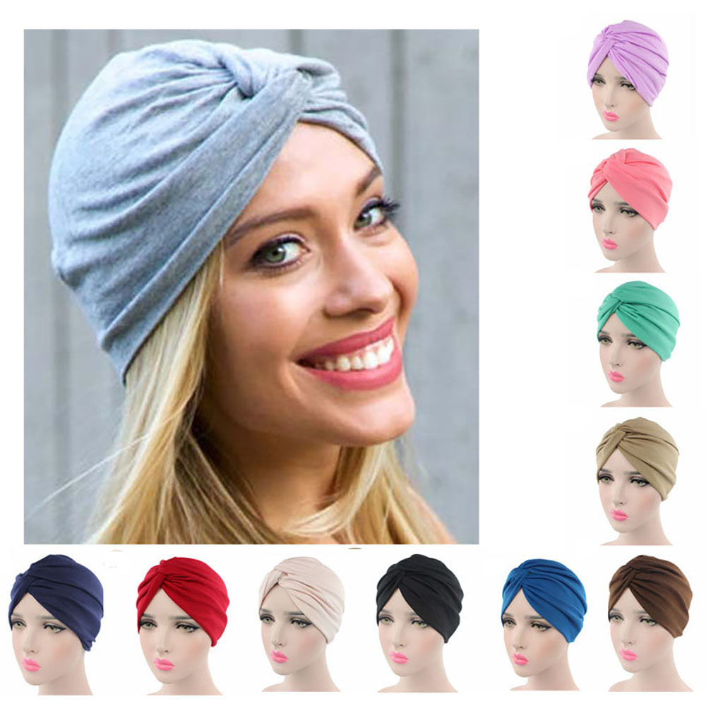 Women Autumn Winter   Skullies     Beanies   Scarf Turban Head Wrap Caps Soft comfortable Cotton Hats For Female Slouchy Knotted Hat