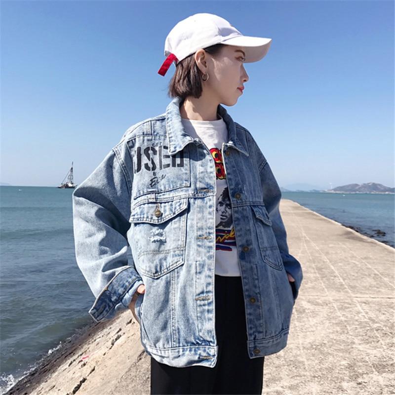 Female Spring Denim Jacket New Plus size Clothing Long sleeves Cowboy Coats Female Casual Loose Autumn Women Outerwear C 251