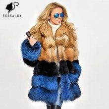 Fashion Slim Long Outwear Luxury Natural Full Pelt Fox Fur Coat Women Warm Thick Real Winter Genuine Customized