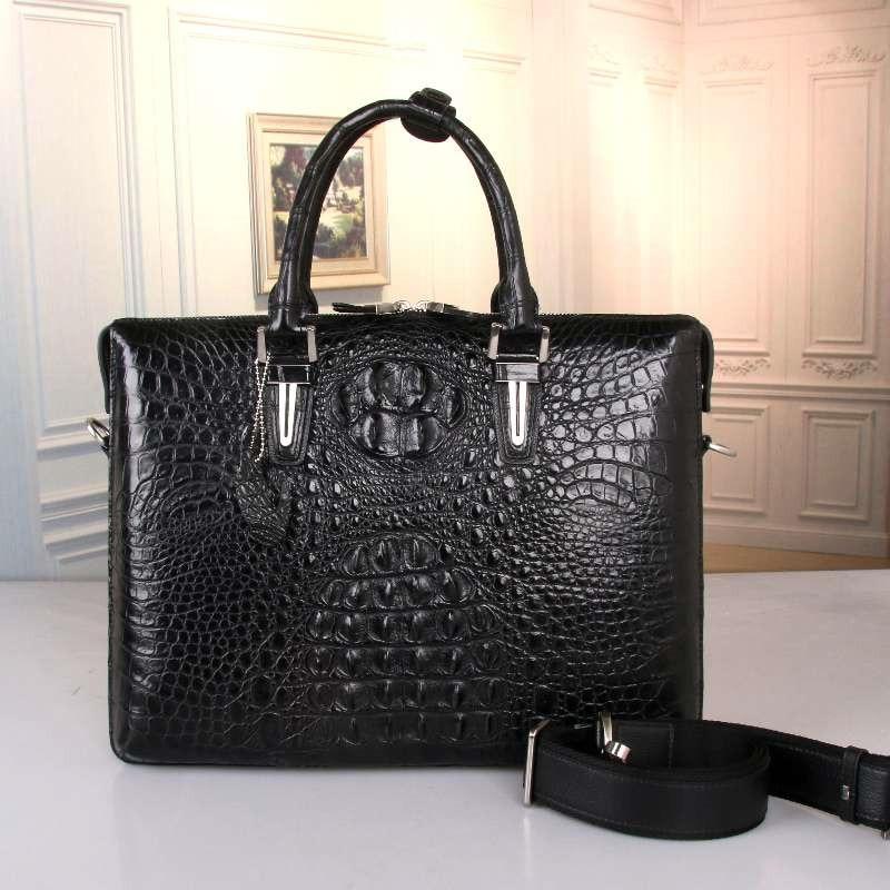 Exotic Genuine Alligator Skin Businessmen Large Portfolio Briefcase Handbag Authentic Crocodile Leather Male Cross Shoulder Bag