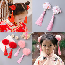 Girl Hair Accessories Hair Decor Cute Hair Clip Chinese Style Pompoms with Macrame Vintage(China)