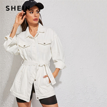 SHEIN White Wash Belted Longline Denim Jacket Coat Women Autumn Spring Turn-down Collar Solid Buttoned Casual Jackets Outwear