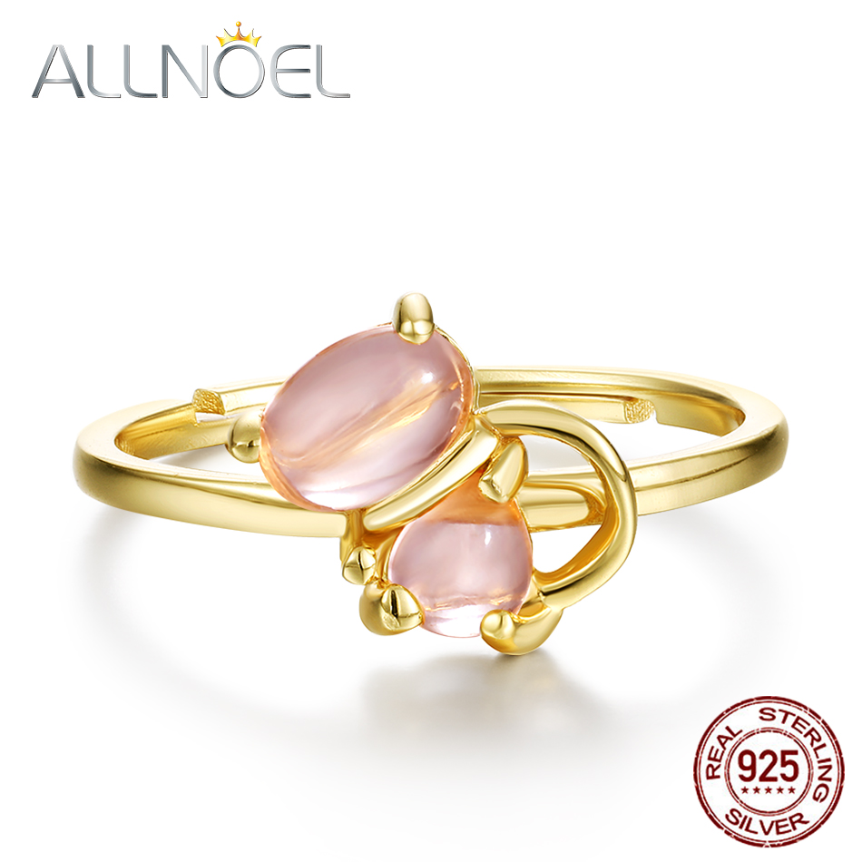 ALLNOEL 925 Sterling Silver Personalized Gemstone Ring For Women Rose Quartz Gold Fine Finger Ring Jewelry Animal Cat Adjustable