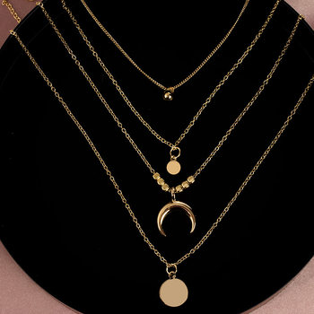 2020 Collier Chain Necklace Multilayer Moon Alloy Metal Disc Gold Pendant Necklace For Women New Trend Female Jewelry Collar