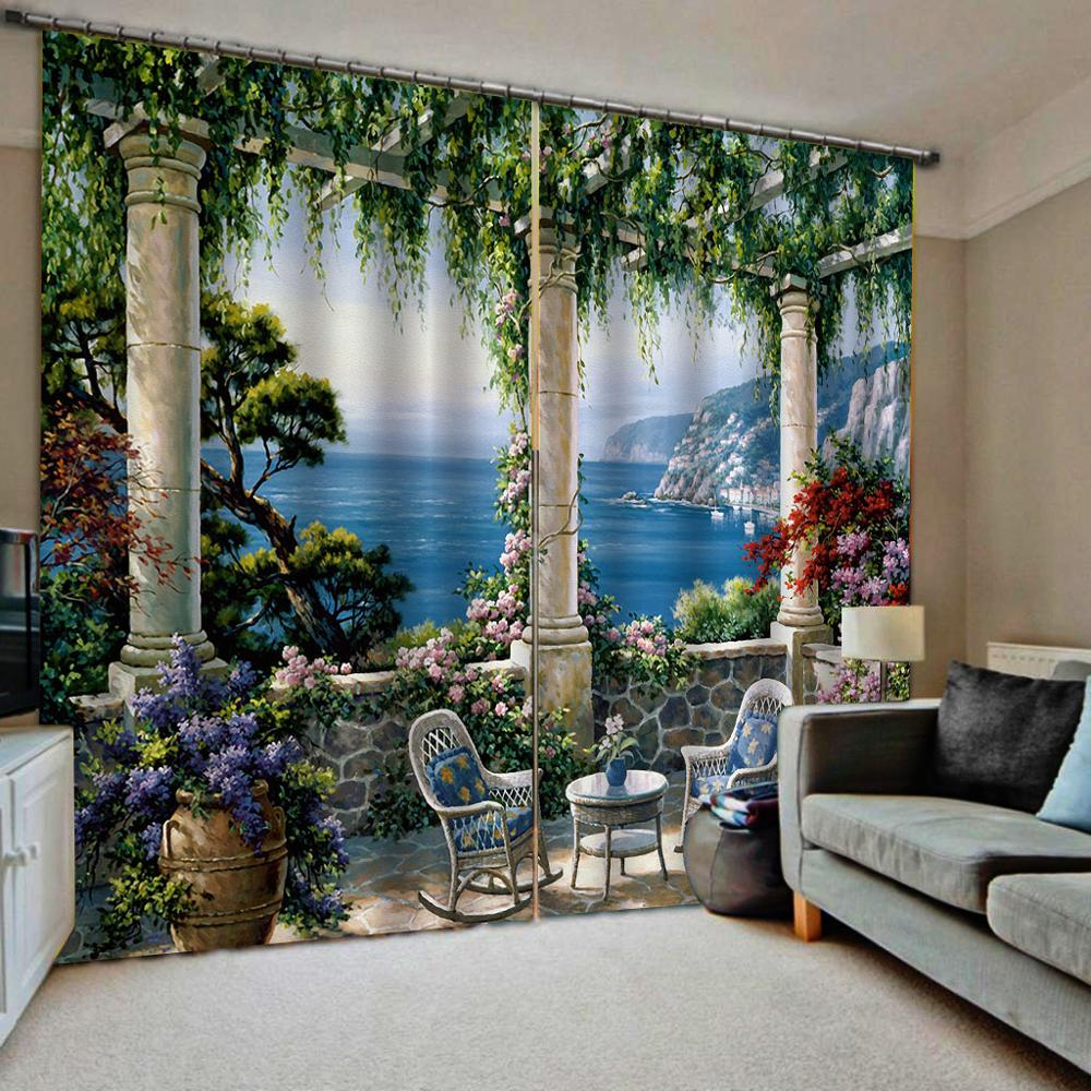 Roman Garden Villa Landscape 3D Curtain Luxury Blackout Window Curtain Living Room