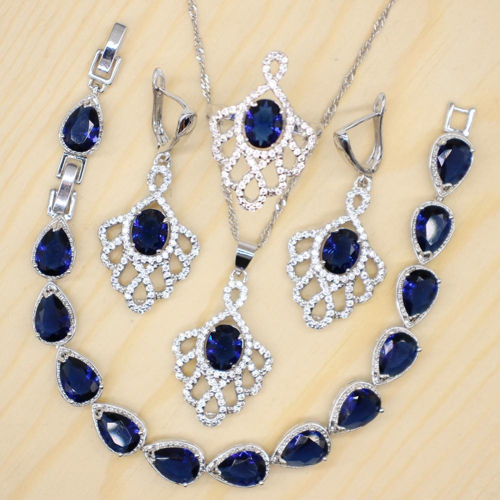 GZJY Blue and Red Jewelry Sets for Women 925 Silver Earrings Necklace Pendant Rings Bracelet for Wedding Bridal Party Jewelry(China)