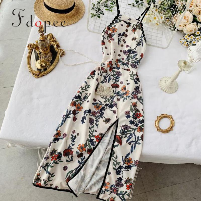 Summer New Beach Style Sexy Hanging Neck Print Retro Cheongsam Improved Split Dress V-neck Spaghetti Strap Sleeveless Vestidos