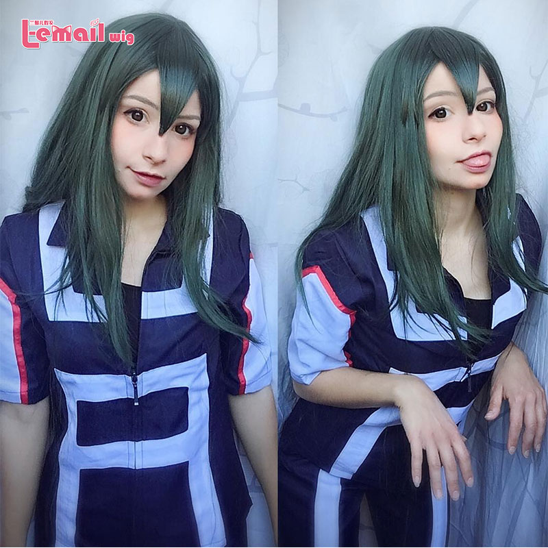 L-email Wig My Hero Academia Tsuyu Asui Cosplay Wigs Froppy Cosplay Long Green Wig Halloween Synthetic Hair Heat Resistant