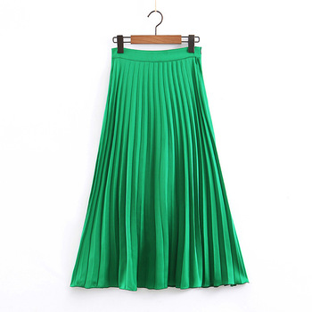women solid green pleated midi skirt faldas mujer side zipper fly design female stylish casual wear A line skirts stylish zipper and magnetic closure design wallet for women