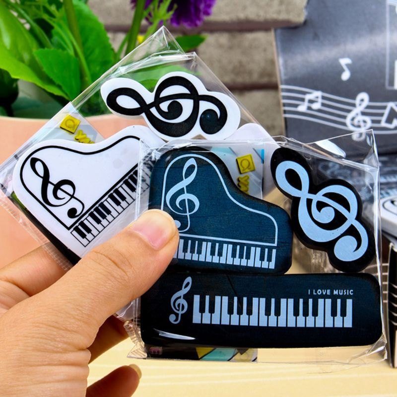3pcs/set Musical Piano Notes Rubber Pencil Eraser School Student Korean Stationery Correction Supplies For Kids Gifts DXAC