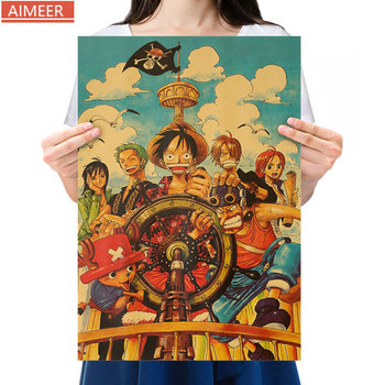 AIMEER Anime One Piece Character Collection L Luffy Sauron Retro Kraft Poster Bar Cafe Home Decoration Painting Core 50.5*35cm image
