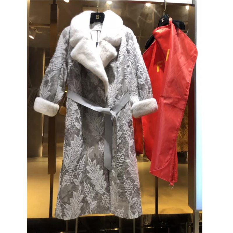 Winter 2020 Woman High Quality Double-sided Coat Mink fur Collar Female Long Section Silk Embroidered Cashmere Wool Coat