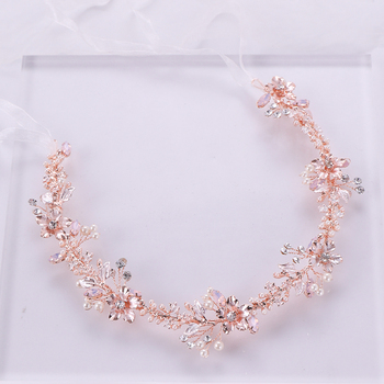 Rose Gold Crystal Pearl Hair Ornaments Headband Flower Bridal  Handmade Tiara Hair Jewelry woman Wedding Headpiece Jewelry Party new rose gold wedding hair accessories bridal headpiece hair vine pearl headband for wedding tiara women hair jewelry accessory