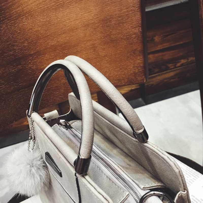Bolsas de couro das mulheres alta qualidade luxo senhora tote sacos ombro com hairball 2019 nova moda selvagem feminino mensageiro sacos