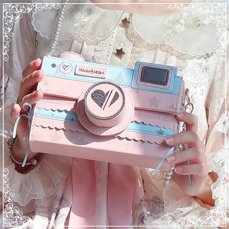 Korean Starry Sky Camera Bag Kawaii Side Bandage Bow Small Square Bag Harajuku Lolita Girl Shoulder Bag Fashion PU Messenger Bag