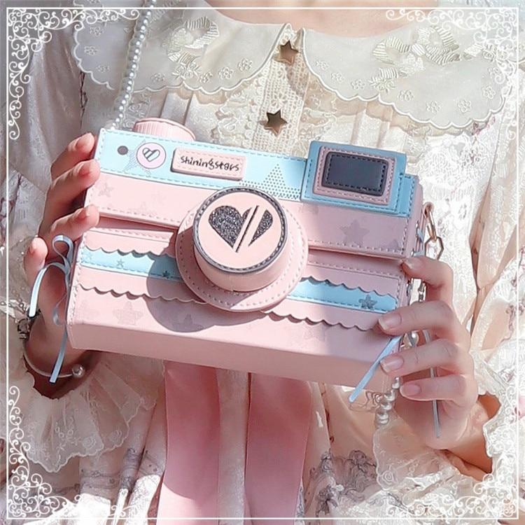 Korean Starry Sky Camera Bag Kawaii Side Bandage Bow Small Square Bag Harajuku Lolita Girl Shoulder Bag Fashion PU Messenger Bag