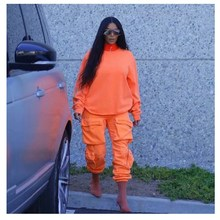 Streetwear Multi Pockets Cargo Pants Women High Waist  Loose Harem 3 Colors Casual Joggers Trousers