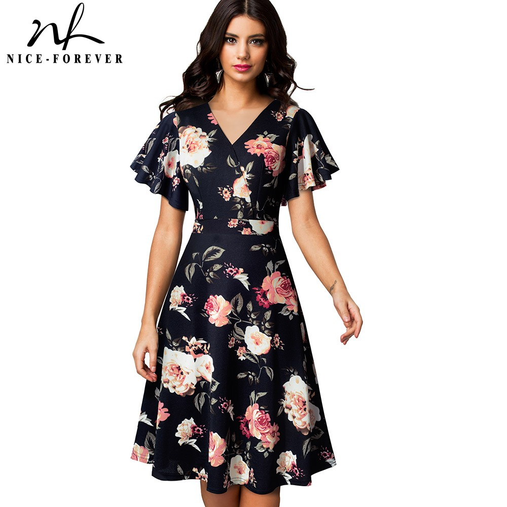 Nice forever Spring Elegant Floral with Ruffle Sleeve vestidos Business Party A Line Women Flare Dress A193Dresses   -