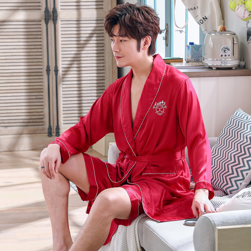 Burgundy Mens Sleep Robe Kimono Short Pants Pajamas Suit Spring 2PC Sleepwear Sets Casual Home Wear Nightwear Bath Gown L-XXL