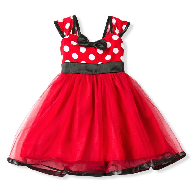 Girls Mouse Dress Gift Polka Dots Party Costume Baby Girl Winter Snowman Red New Year Girl Christmas Dress Girl 5Y 1