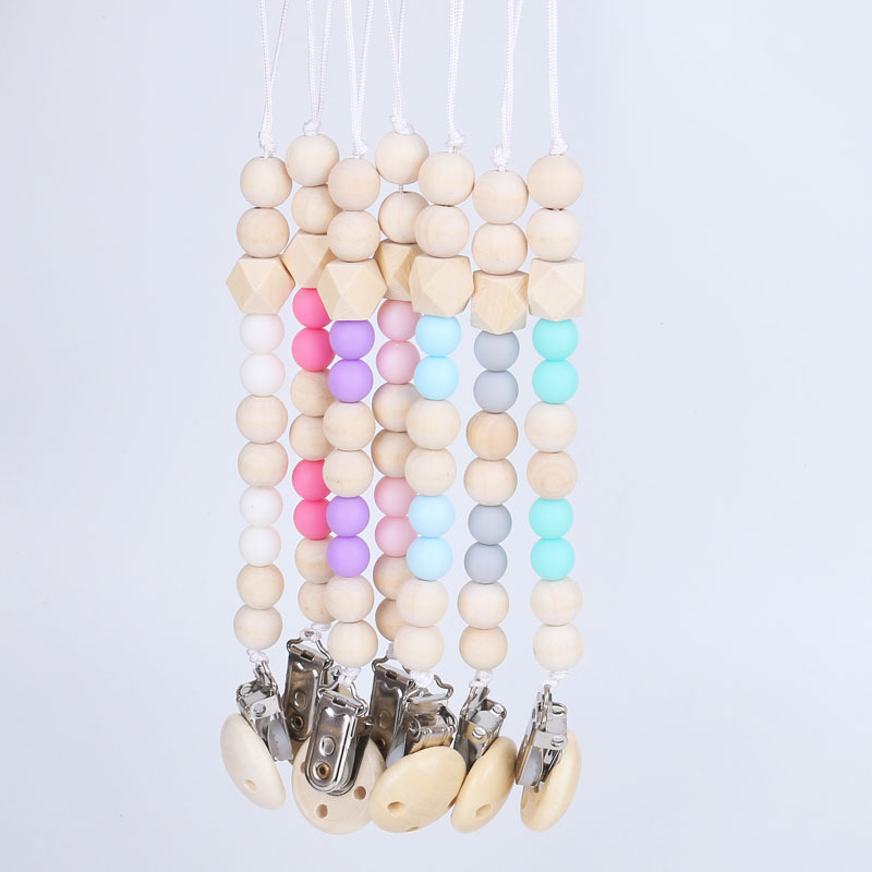 Silicone And Wood Baby Pacifier Clip Chain Wooden Holder  Soother Pacifier Clips Leash Strap Nipple Holder For Infant Feeding