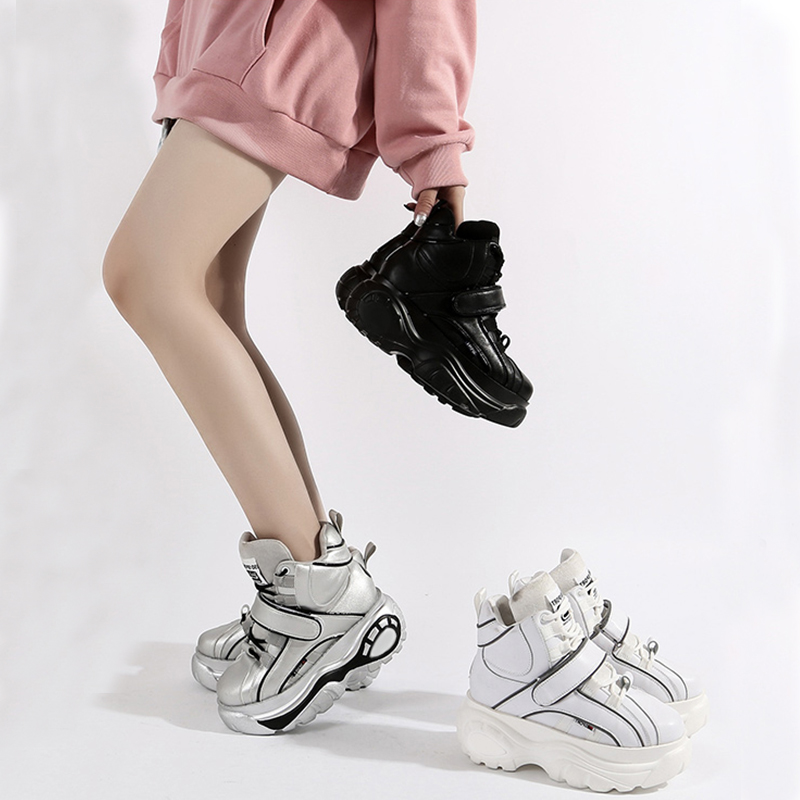 ERNESTNM 2020 Platform Spring Sneakers Women Fashion Female Black Silver Sneakers Wedges Shoes Women High Top Chunky Sneakers